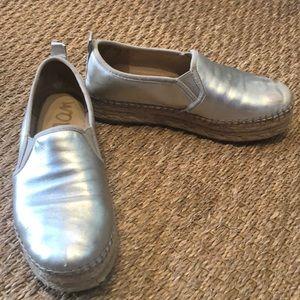 Silver Sam Edelman espadrille loafers
